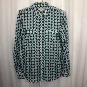 Ann Taylor LOFT sheer button down blouse medium
